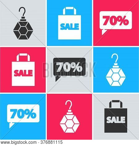 Set Earring, Shoping Bag With Sale And Seventy Discount Percent Tag Icon. Vector