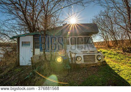 Fruška Gora, Vojvodina / Serbia - February 1, 2020: Old Camper Truck And A Shed In Nature