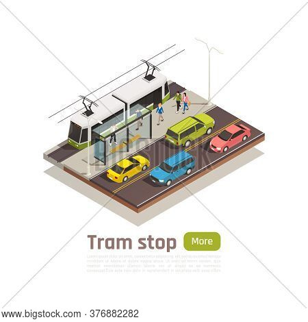 Isometric And Colored City Composition With Tram Station And Big Green Button Vector Illustration