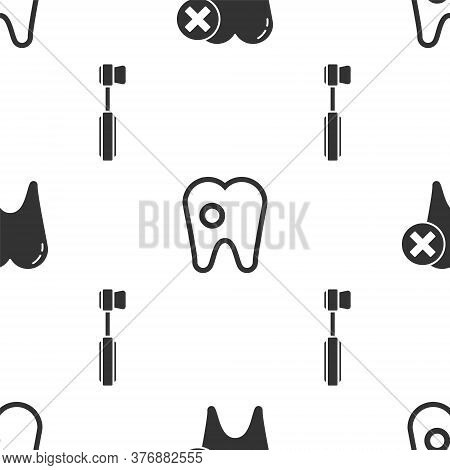 Set Tooth With Caries, Tooth With Caries And Toothbrush On Seamless Pattern. Vector