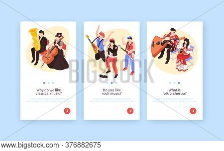 Musicians 3 Isometric Vertical Banners Set With Classical Music Performance Rock Band And Folk Orche