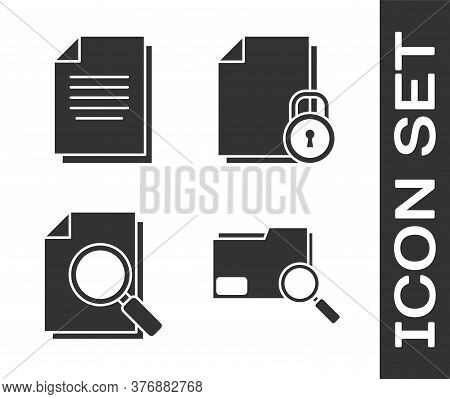 Set Search Concept With Folder, Document, Document With Search And Document And Lock Icon. Vector