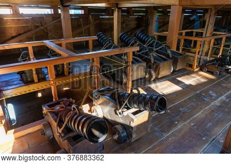 Geoje, South Korea - June 15, 2017: Replica Of Ancient Cannon Inside Geobukseon Or Korean Traditiona