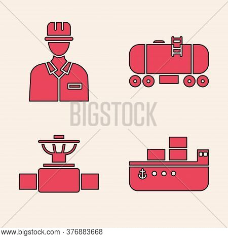 Set Oil Tanker Ship, Oilman, Oil Railway Cistern And Industry Pipe And Valve Icon. Vector