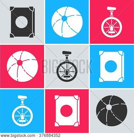 Set Ancient Magic Book, Beach Ball And Unicycle Or One Wheel Bicycle Icon. Vector