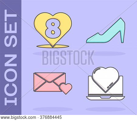 Set Online Dating App And Chat, Heart With 8 March, Envelope With 8 March And Woman Shoe Icon. Vecto