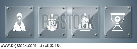 Set Christian Chalice, Easter Cake And Eggs, Burning Candle And Jesus Christ. Square Glass Panels. V