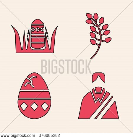 Set Jesus Christ, Easter Egg, Willow Leaf And Cracked Egg Icon. Vector