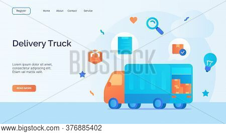 Delivery Truck Icon Campaign For Web Website Home Homepage Landing Template Banner With Cartoon Flat