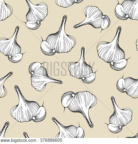 Seamless Pattern Of Garlic On A Beige Background.a Simple Pattern Of Garlic.hand-drawn Vector Illust