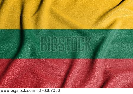 National Flag Of The Lithuania. The Main Symbol Of An Independent Country. Flag Of Lithuania.