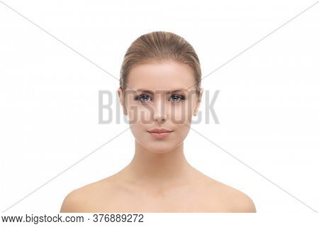 Face of a beautifyl girl. Plastic surgery, skin lifting, spa, cosmetics and medicine.