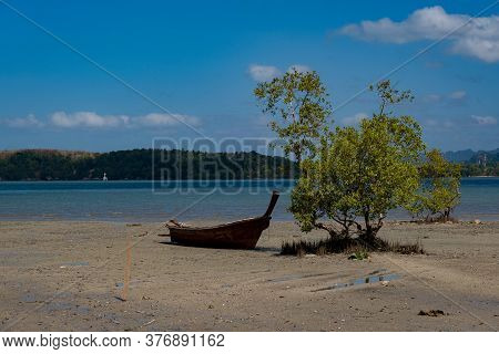 Wooden Longtail Boat In Province Krabi, Thailand