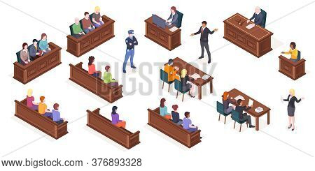 Court Hearing And Courtroom, Vector Isolated Isometric Icons Of Judge And Justice Jury At Trial Proc