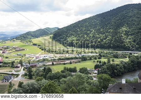 View Of The Mountains And Fields From The Orava Castle