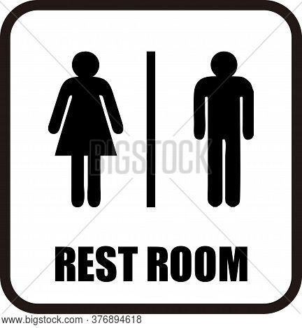 Restroom Sign Male And Female On Rounded Square Black And White Isolated