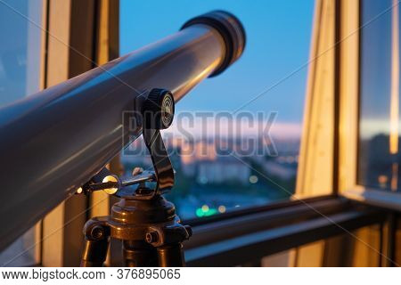 Telescope On The Balcony, Telescope On The Tripod, Shallow. Telescope For Sky Observation, Hobbies A