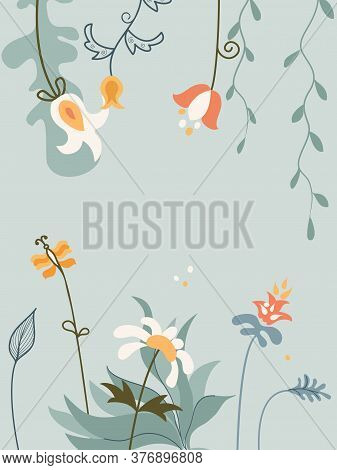 Vertical Arrangement Flowers, Bird And Butterfly In Scandinavian Style On White Background.