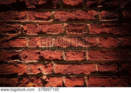 Red Brick Wall Texture Grunge Background With Vignetted Corners. Grunge Weathered Stone Texture. Aba