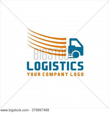 Logistic Truck Transport Logo, Logistics Or Delivery Service Label. Vector Logo Design Template.