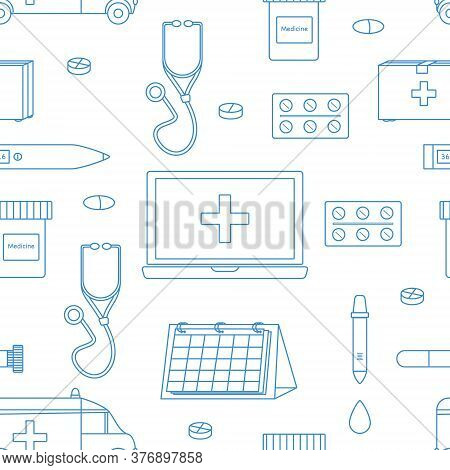 Vector Seamless Pattern Of Medical Tools On White Background. Stethoscope, Thermometer, Calendar, Bl