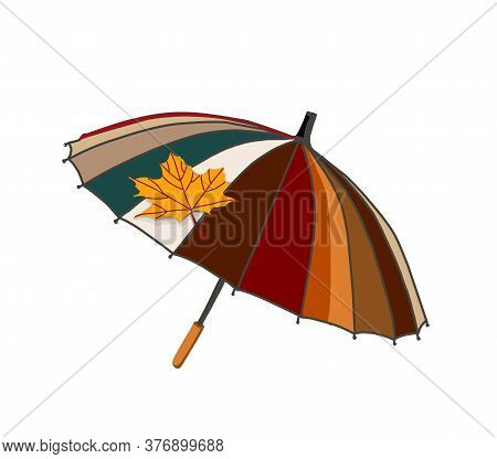Umbrella With Autumn Leaves. Autumn Season. The Umbrella Is Isolated On A White Background. Vector I
