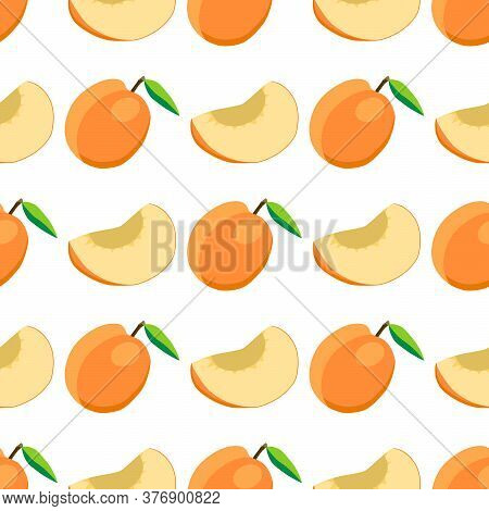 Illustration On Theme Big Colored Seamless Apricot, Bright Fruit Pattern For Seal. Fruit Pattern Con
