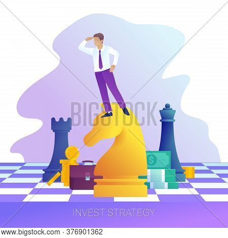 Concept Of Successful Business Strategy. Businessman On Horse Chess Piece Looking For Success, Oppor
