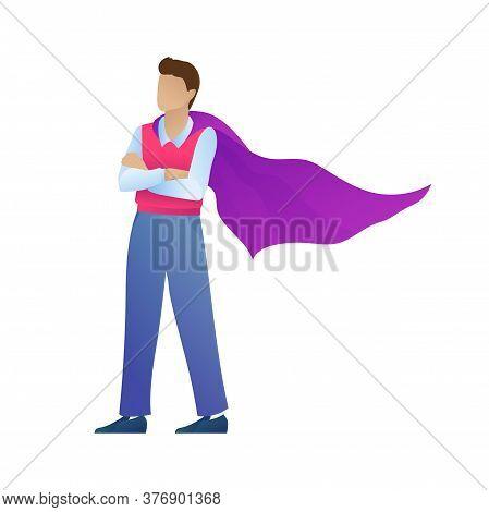Handsome Entrepreneur In Supermans Cloak, Isolated On White Background. Cartoon Superhero Standing W