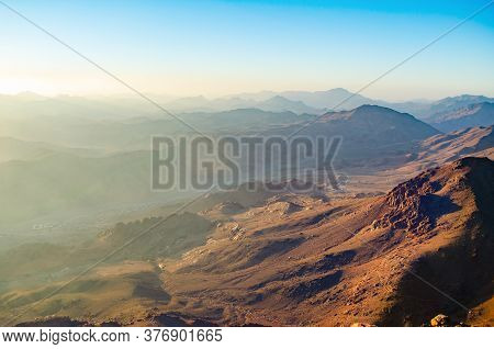 Top View Of A Village And Mountains In Egypt On The Sinai Peninsula.
