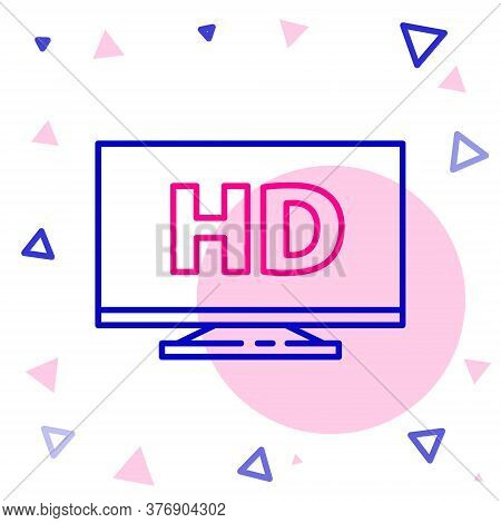 Line Smart Display With Hd Video Technology Icon Isolated On White Background. Colorful Outline Conc