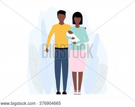 Young African Family With Small Child Standing Together Vector Stock Illustration Isolated On White
