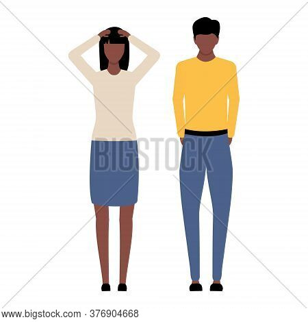 Man And Woman Problem. Emotional African People Vector Illustration. Conflict In Family Relationship