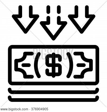 Cash Money Atm Icon. Outline Cash Money Atm Vector Icon For Web Design Isolated On White Background