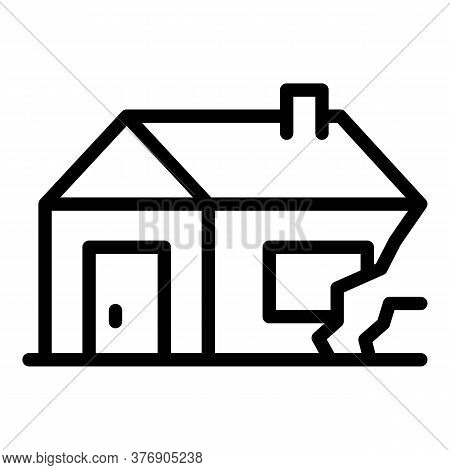 House Destruction After War Icon. Outline House Destruction After War Vector Icon For Web Design Iso