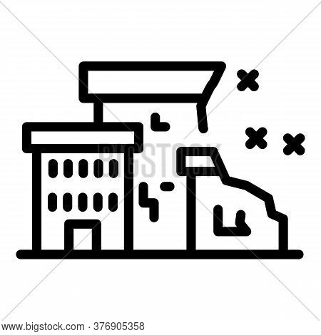 City Destruction Icon. Outline City Destruction Vector Icon For Web Design Isolated On White Backgro