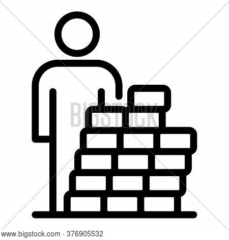 Immigrant Behind Brick Wall Icon. Outline Immigrant Behind Brick Wall Vector Icon For Web Design Iso