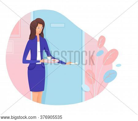 Young Woman Secretary Knocking Stand Front Of Boss Cabinet Entrance Door. Girl Personal Assistant Br