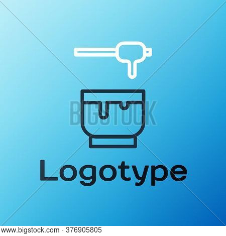 Line Honey Dipper Stick And Bowl Icon Isolated On Blue Background. Honey Ladle. Colorful Outline Con