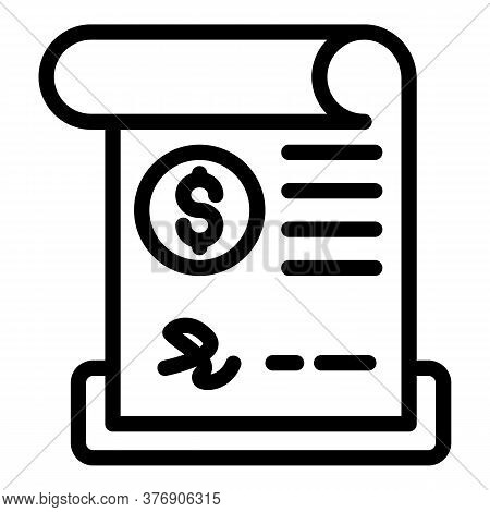 Credit Paper Bill Icon. Outline Credit Paper Bill Vector Icon For Web Design Isolated On White Backg