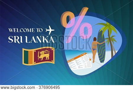 Welcome To Sri Lanka Vector Illustration Concept. Sale Of Tours In Ceylon After Quarantine Due To Co