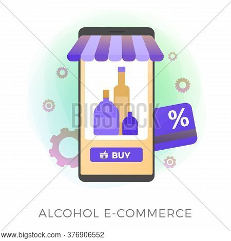 Alcohol E-commerce Flat Vector Icon. Online Purchase Of Alcohol: Wine, Cognac, Vodka, Whiskey, Rum B