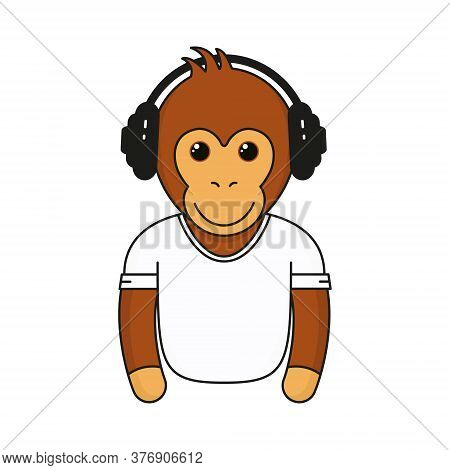 Cute Monkey With Headphones. Cartoon Fashionable Monkey With Earphones Wear In White Shirt. Animal E