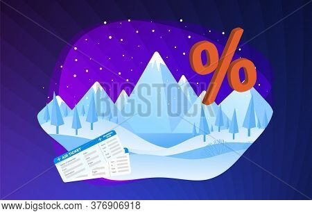 Winter And Christmas Tour Cheap Air Ticket And Tour Booking Vector Illustration. Active Winter Seaso