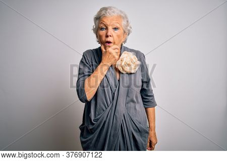 Senior beautiful grey-haired woman wearing casual dress standing over white background Looking fascinated with disbelief, surprise and amazed expression with hands on chin