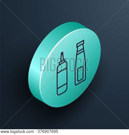 Isometric Line Sauce Bottle Icon Isolated On Black Background. Ketchup, Mustard And Mayonnaise Bottl