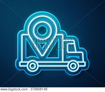Glowing Neon Line Delivery Tracking Icon Isolated On Blue Background. Parcel Tracking. Vector Illust