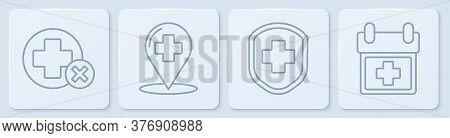 Set Line Cross Hospital Medical, Medical Shield With Cross, Map Pointer With Cross Hospital And Doct