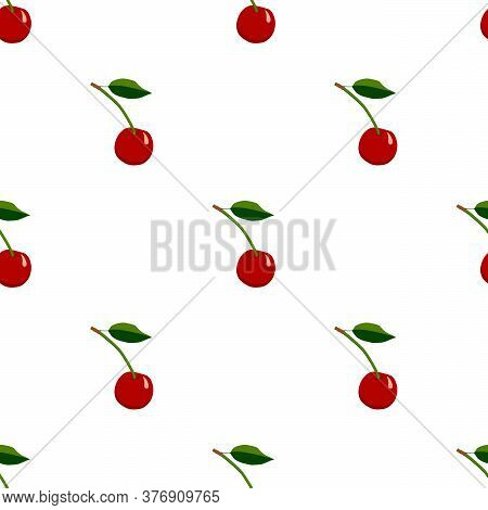 Illustration On Theme Big Colored Seamless Cherry, Bright Berry Pattern For Seal. Berry Pattern Cons