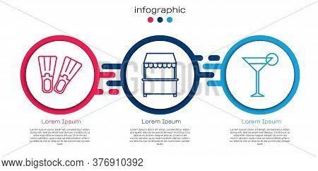 Set Line Rubber Flippers, Street Stall With Awning And Martini Glass. Business Infographic Template.